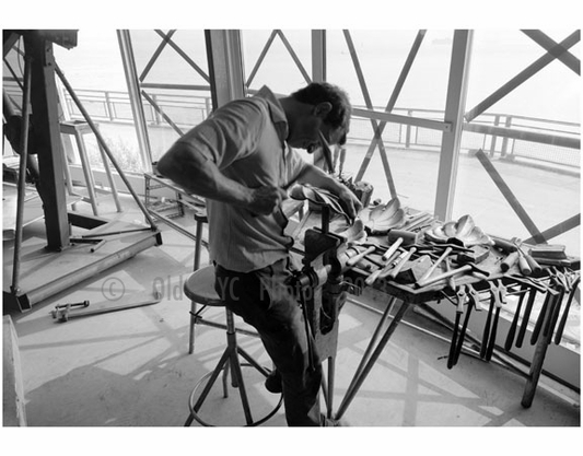 French craftsmen fabricating acanthus leaves, October 14, 1985 - from the renovation of the Statue of Liberty