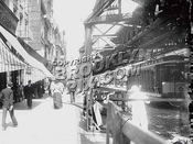 Fulton Street with Kings County Elevated and open trolley, May 19, 1905