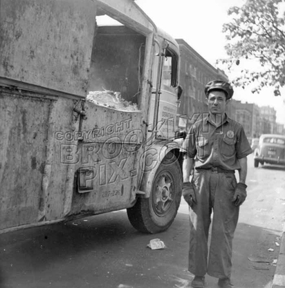 Garbage truck and sanitation worker, 1948
