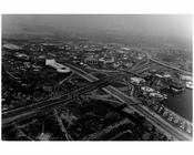 General Motors Pavillion &L.I.E. cloverleaf looking south to Amusement area 1964 Worlds Fair - Flushing - Queens NY