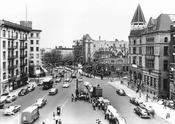 Grant Square looking north, from Bergen Street showing Bedford and Rogers Avenues, 1958