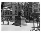 Greeley Square Statue in Greeley Square park south of Herald Square  -  Midtown Manhattan 1914