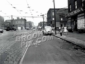 Harrison Avenue looking west at Lorimer Street, 7-28-1947