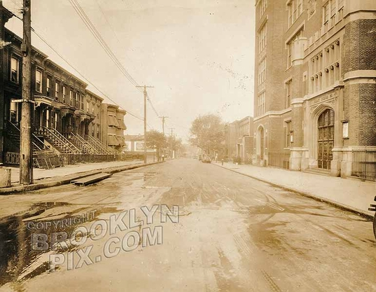 Herkimer Street west from Bancroft Place and PS28, c.1930