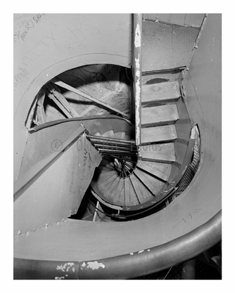 Inside the Statue of Liberty - view from the crown platform looking down at the helical stairway February 1984