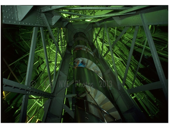 Inside the Statue of Liberty - view up the staircase of the interior main frame