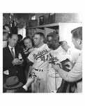 Jackie Robinson in the Dodger Locker Room with Reporters World Series 1956