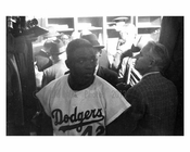 Jackie Robinson in the Dodgers Locker room at Ebbets Field 1957 - Brooklyn NY