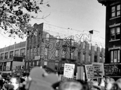 Jews demonstrating on Pitkin Avenue against President Eisenhower's policies, 1950s
