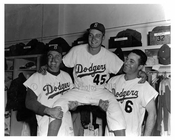 Johnny Podres being hoisted up by Duke Snider & another Brooklyn Dodger in the locker room post game at Ebbets Field - Flatbush - Brooklyn NY