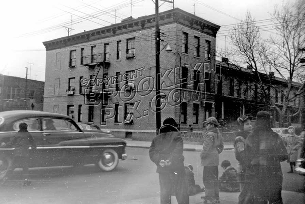 Kids on the northeast corner of Lott and Christopher Avenues, 1952