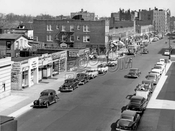 Kings Highway looking east from elevated Culver Line at McDonald Avenue, 1954