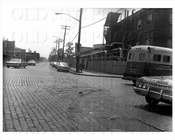 Kingsland Ave south facing Greenpoint Ave with ambulance truck 1966