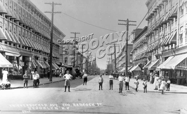 Knickerbocker Avenue looking west from Hancock Street, 1908