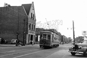 Liberty Avenue west from Conduit Avenue, showing fire house, 1947