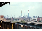 Looking at Manhattan from an elevated train platform in Brooklyn