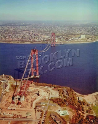 Looking from Staten Island to Brooklyn under construction in 1962