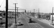 Looking north on Utica Avenue from LIRR trestle between Glenwood Road and Foster Avenue, c.1950