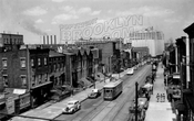 Looking north on Vanderbilt Avenue from the Myrtle Avenue elevated structure, 1950