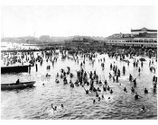 looking west from Steeplechase pier showing Sunday bathers 1922