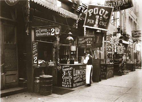 Lunch Stand at 53 Bowery - ca 1910
