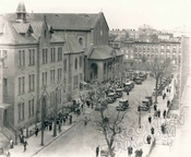 Madison Street looking west to Classon Avenue, showing Church of the Nativity, c.1930