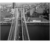 Manhattan Bridge - Helicopter view of west Roadway & Manhattan Tower