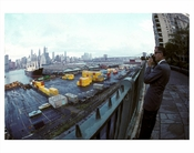 Manhattan Skyline from Brooklyn Rooftop - taking a picture of someone taking a picture