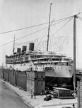 """Monarch of Bermuda"" at United Dry Dock, foot of 27th Street, 1936"