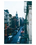 Mott Street from elevated structure 1955 - Little Italy -  New York, NY