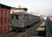 Myrtle Avenue el train in last days of operation, near Grand Avenue, c.1969