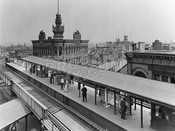 Myrtle Avenue L platform crossing over Broadway L in Brooklyn before 1914 reconstruction