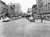 Myrtle Avenue looking east from Pearl Street, 1949