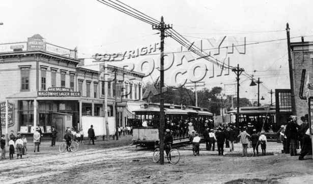 Nassau Electric Railroad Canarsie Depot during trolley strike of July 1899
