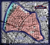 Neighborhood borders map for Williamsburgh City
