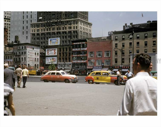 New York 1950s street scene with yellow taxis passing by