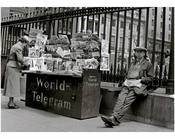 Newsstand on Church Street 1939 - St. Paul's Chapel, Trinity Church Cemetary