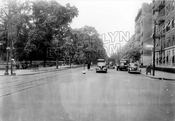 Ocean Avenue, looking north from Parkside Avenue, Prospect Park on left, 1940