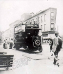 Pacific Street, west from Flatbush Avenue, showing company excursion on Mercedes bus, c.1916