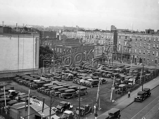 Parking lot on south side of East New York Avenue between Amboy and Herzl Streets, 1935