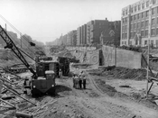 Prospect Expressway under construction looking south from Ft. Hamilton parkway to Church Avenue, P.S. 130 at right, 1960
