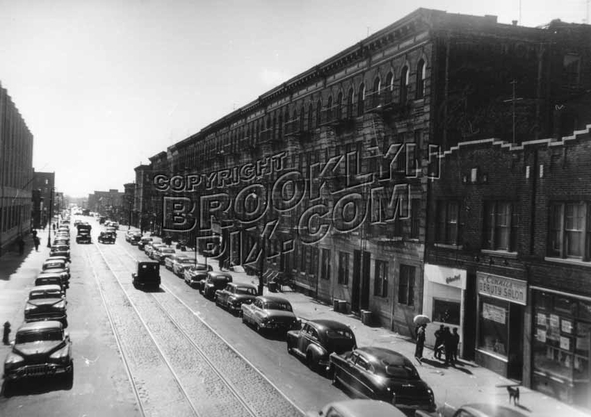 Rockaway Avenue looking south from Livonia Avenue elevated station platform, 1952