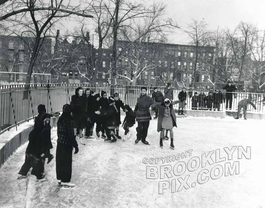 Skating at Tompkins Park looking north to Lafayette Avenue, 1942