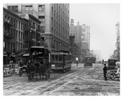 Trolley & Horse Traffic going down 7th Avenue - between  23rd & 24th Streets  1917 Chelsea NYC
