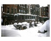 Trolley operating in post blizzard conditions  - Crown Heights - Brooklyn, NY 1950s