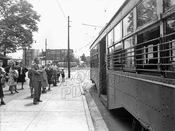 Trolley stop near Bartel-Pritchard Square, 1947