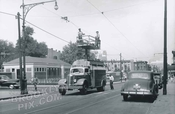 Trolley wire repair truck Smith Street north at Carroll Street Park, Carroll Gardens Brooklyn NY c.1950