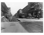 Upclose view of construction & a trolley passing down Lexington Avenue & 104th Street 1911 - Upper East Side, Manhattan - NYC