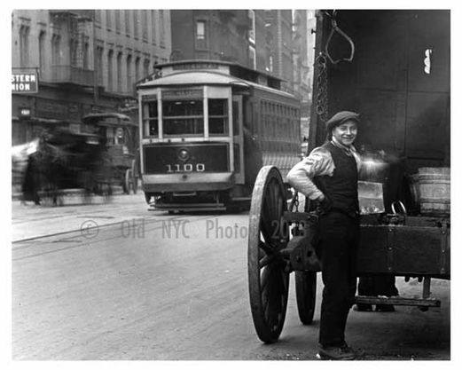 Uplcose shot of truck driver at the 50th Street Station 50th Street & Broadway - Midtown -  Manhattan 1916