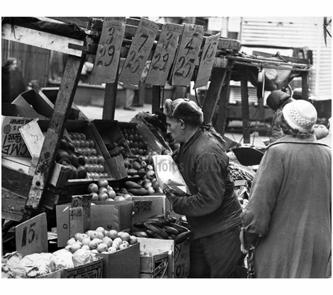 Vendor selling produce from his pushcart at the Belmont Avenue market